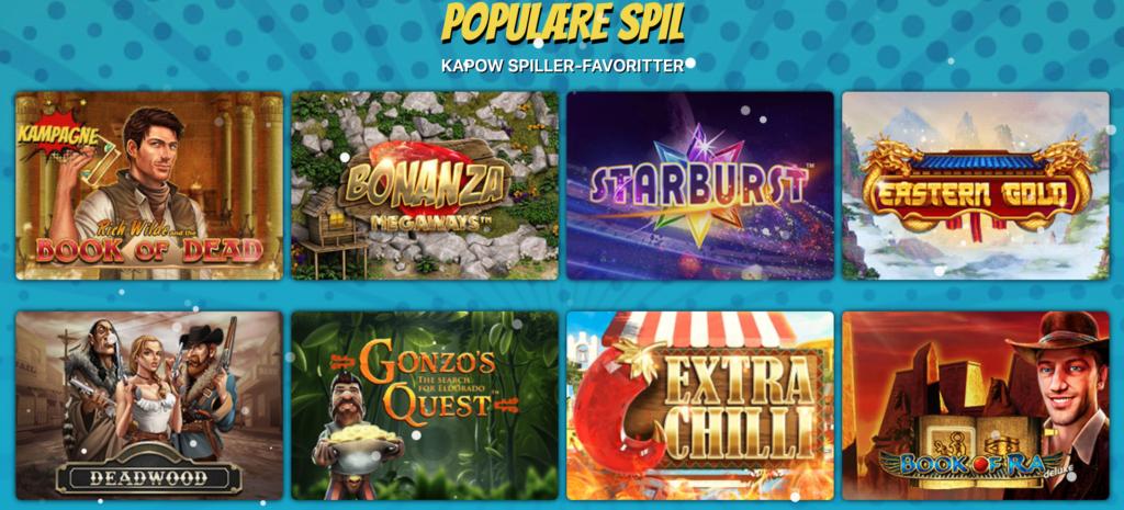 Populære spil hos Kapow Casino